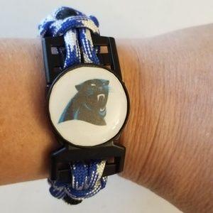 Handcrafted Carolina Panthers paracord bracelet